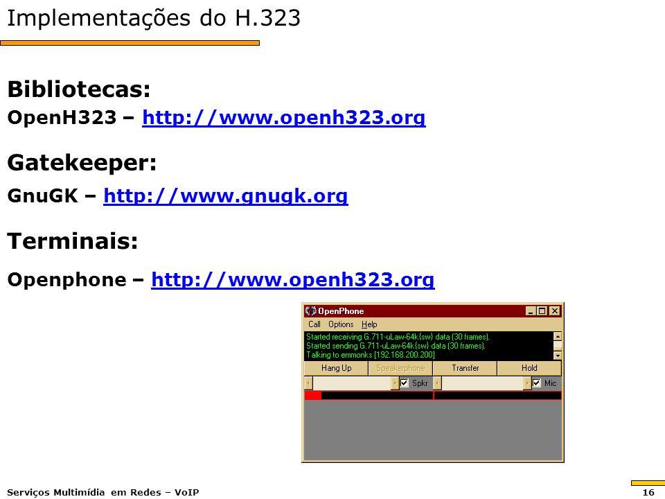 Implementações do H.323 Bibliotecas: Gatekeeper: Terminais: