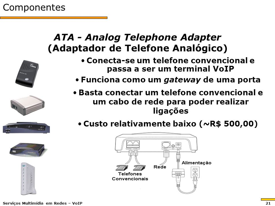 ATA - Analog Telephone Adapter (Adaptador de Telefone Analógico)