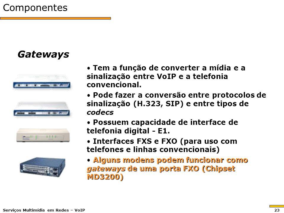 Componentes Gateways. Tem a função de converter a mídia e a sinalização entre VoIP e a telefonia convencional.