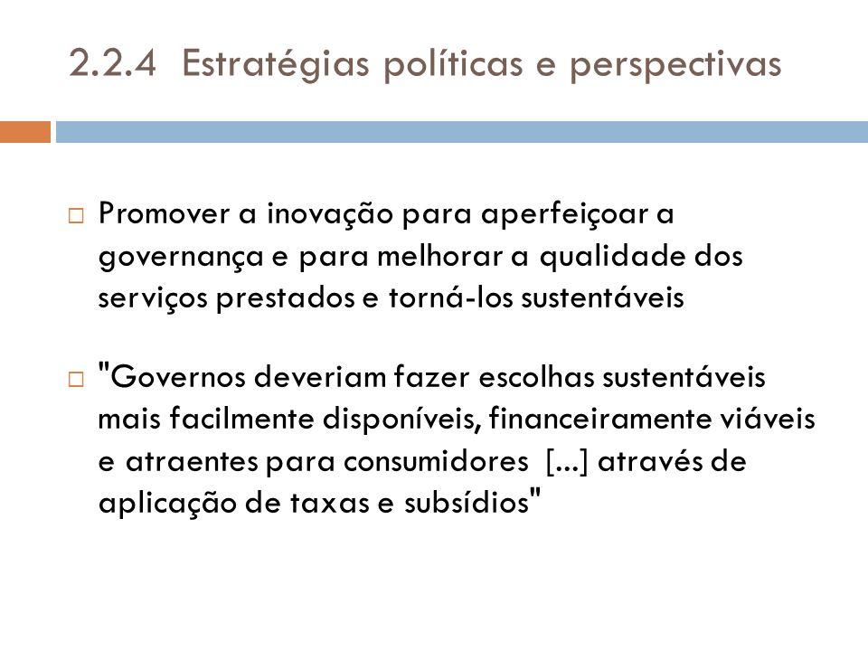 2.2.4 Estratégias políticas e perspectivas