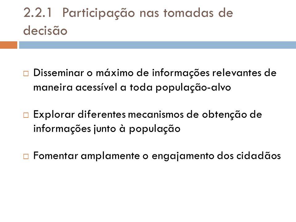 2.2.1 Participação nas tomadas de decisão