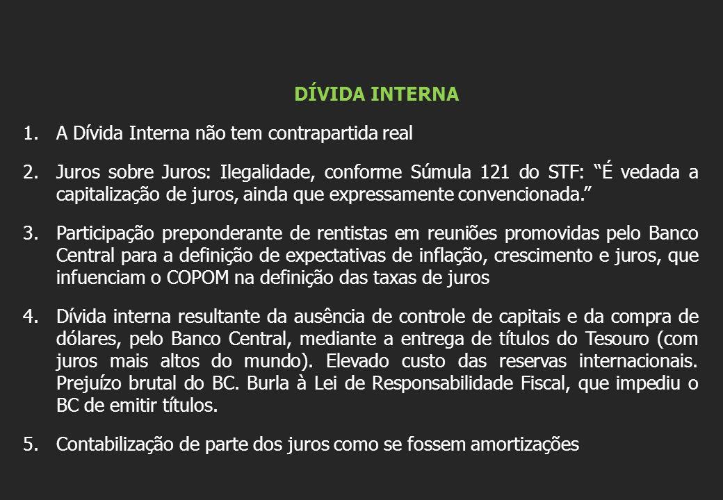 DÍVIDA INTERNA A Dívida Interna não tem contrapartida real.