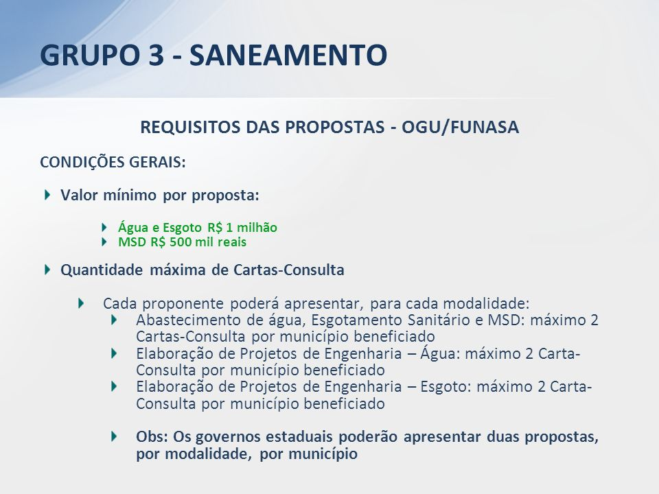 REQUISITOS DAS PROPOSTAS - OGU/FUNASA