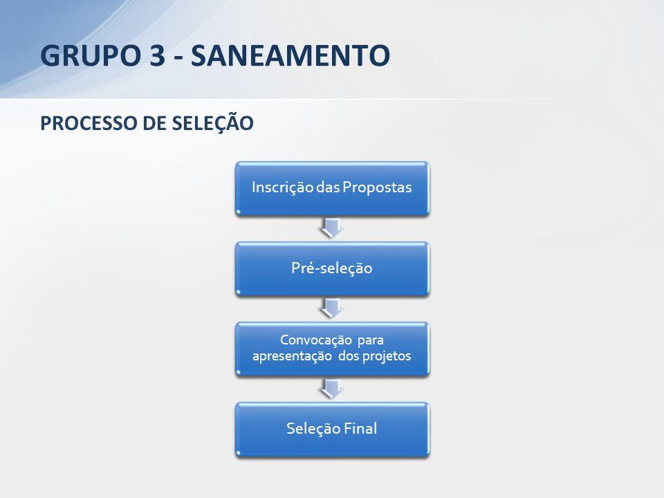 GRUPO 3 - SANEAMENTO PROCESSO DE SELEÇÃO Inscrição das Propostas