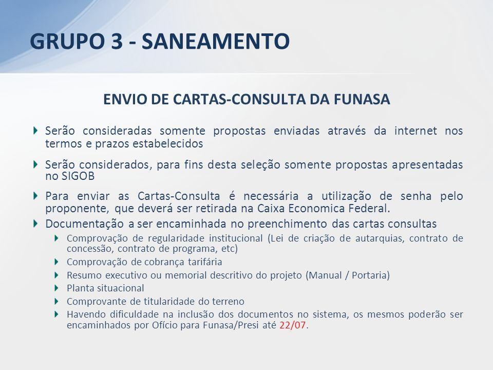 ENVIO DE CARTAS-CONSULTA DA FUNASA