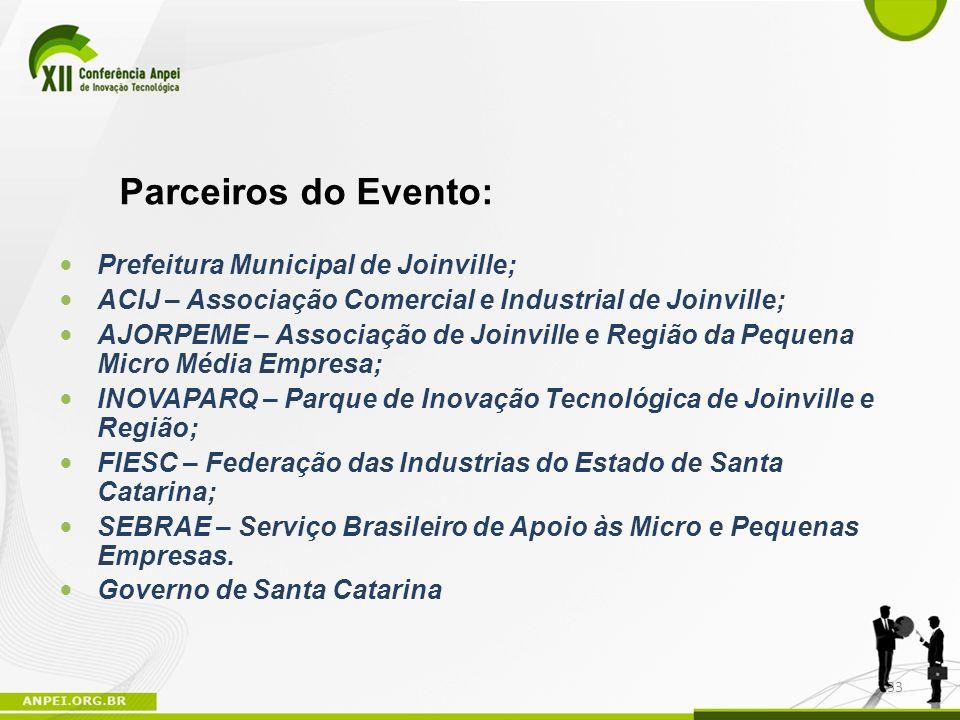 Parceiros do Evento: Prefeitura Municipal de Joinville;