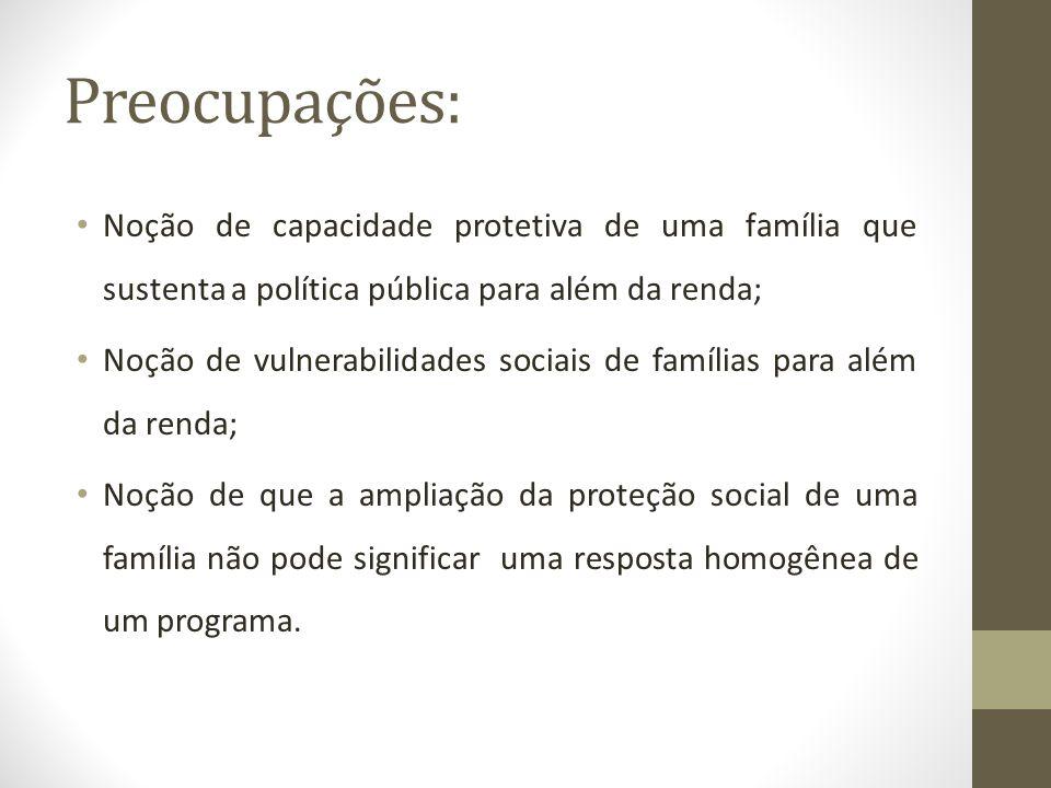 Preocupações: Noção de capacidade protetiva de uma família que sustenta a política pública para além da renda;