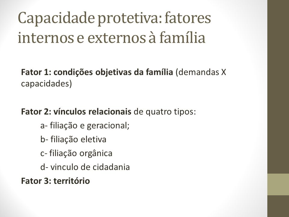 Capacidade protetiva: fatores internos e externos à família