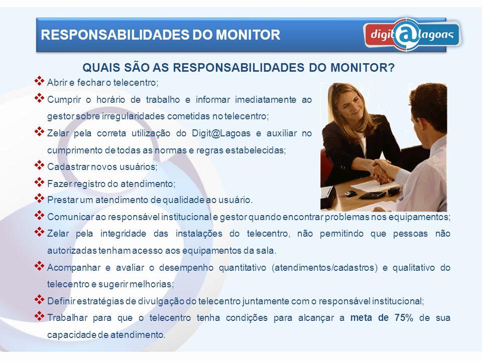 QUAIS SÃO AS RESPONSABILIDADES DO MONITOR