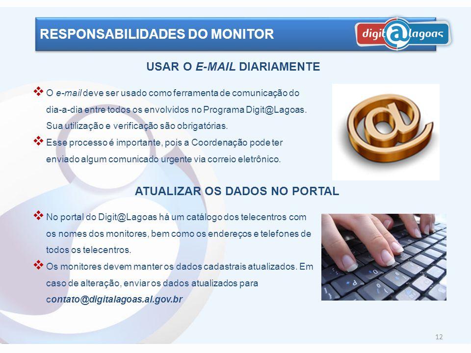 USAR O E-MAIL DIARIAMENTE ATUALIZAR OS DADOS NO PORTAL