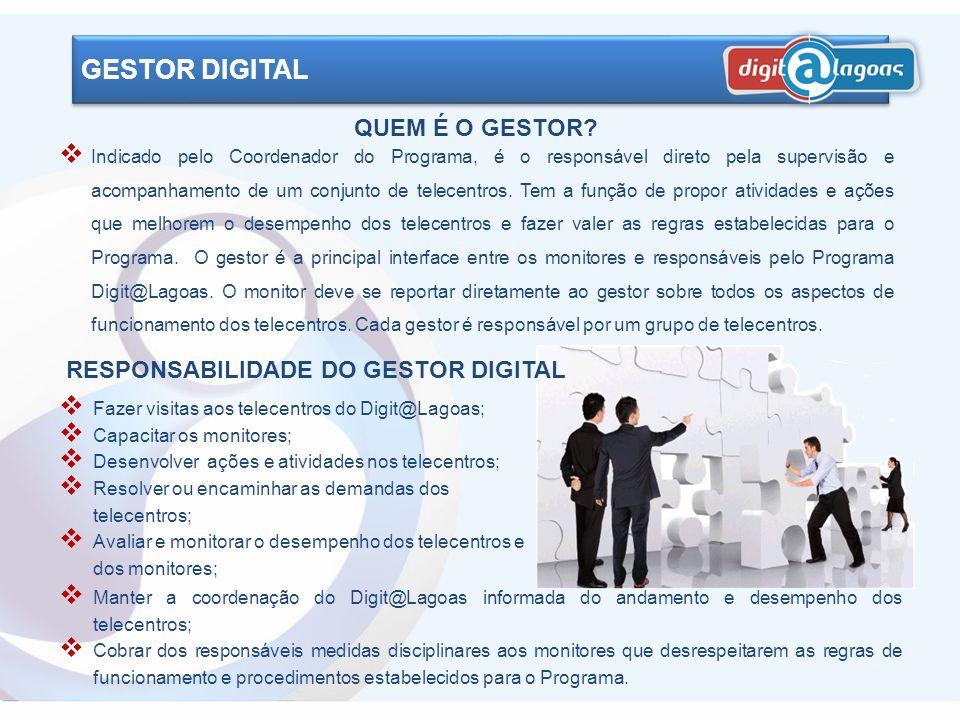 GESTOR DIGITAL QUEM É O GESTOR RESPONSABILIDADE DO GESTOR DIGITAL