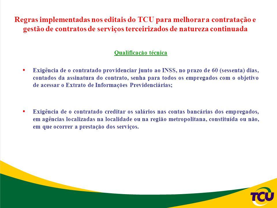 Regras implementadas nos editais do TCU para melhorar a contratação e gestão de contratos de serviços terceirizados de natureza continuada