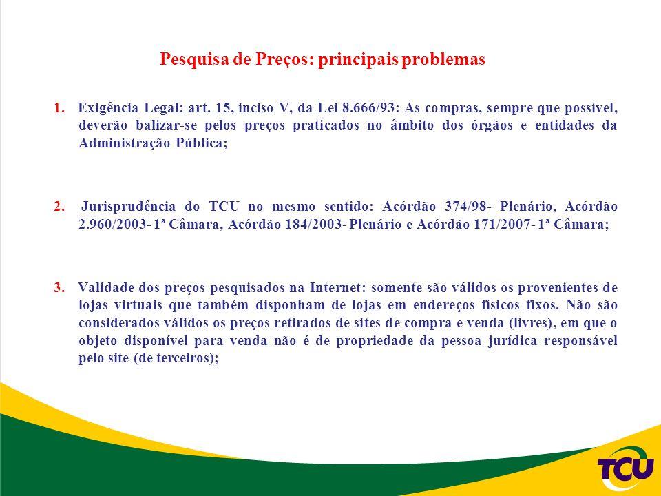 Pesquisa de Preços: principais problemas