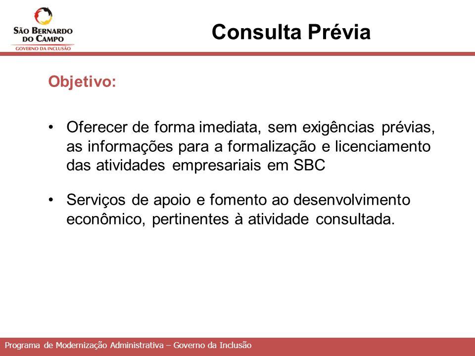 Consulta Prévia Objetivo: