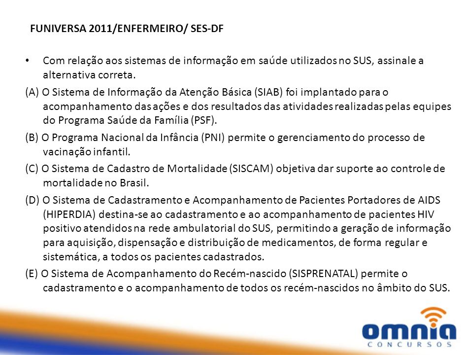 FUNIVERSA 2011/ENFERMEIRO/ SES-DF