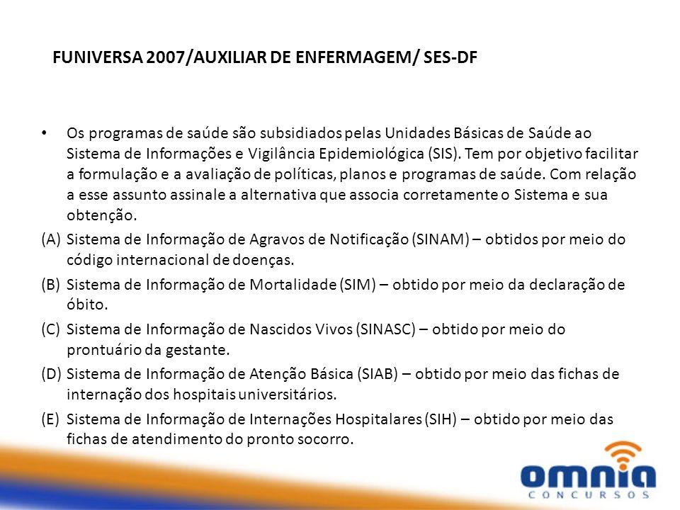 FUNIVERSA 2007/AUXILIAR DE ENFERMAGEM/ SES-DF