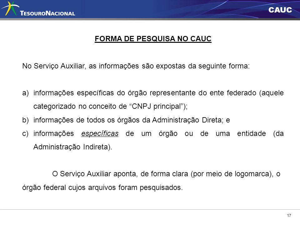FORMA DE PESQUISA NO CAUC
