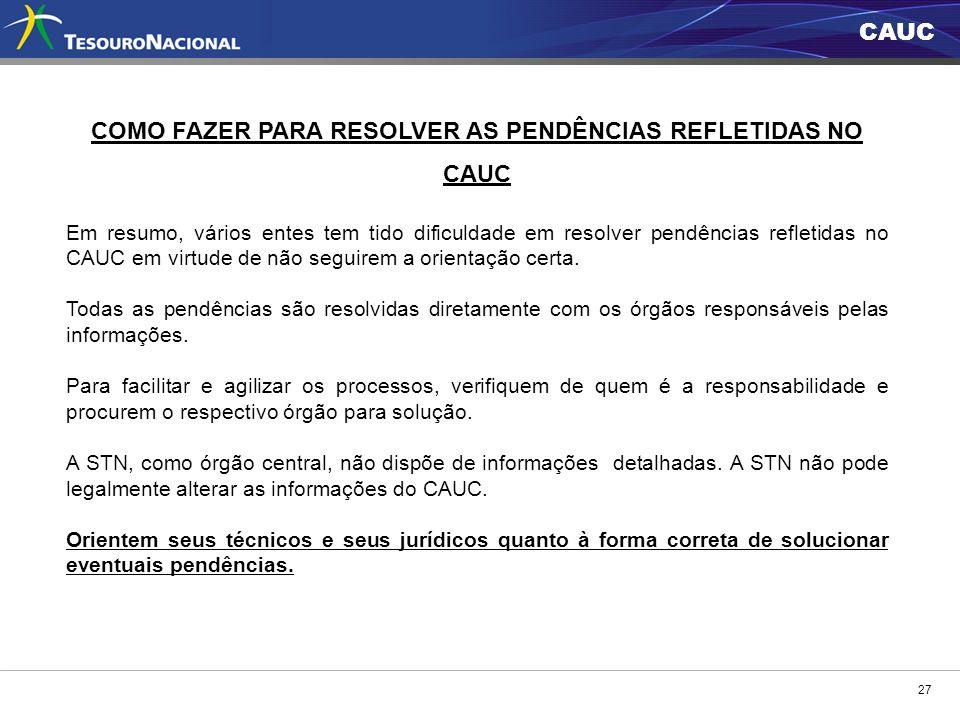 COMO FAZER PARA RESOLVER AS PENDÊNCIAS REFLETIDAS NO CAUC