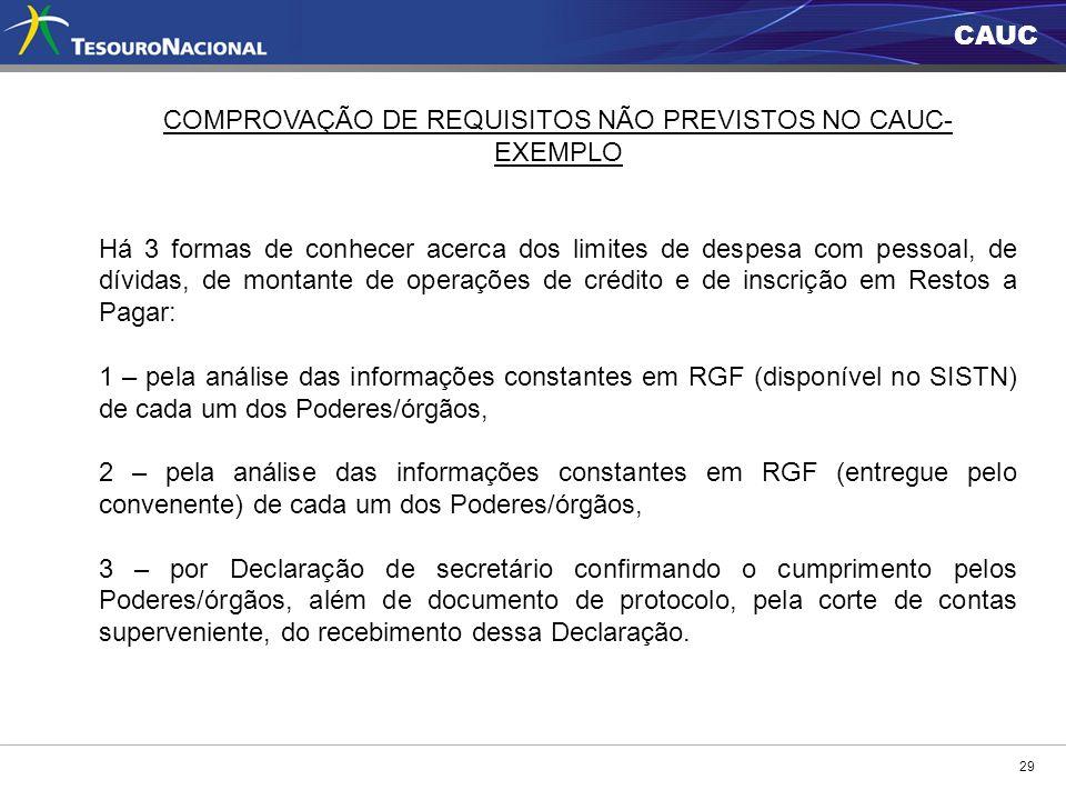 COMPROVAÇÃO DE REQUISITOS NÃO PREVISTOS NO CAUC- EXEMPLO