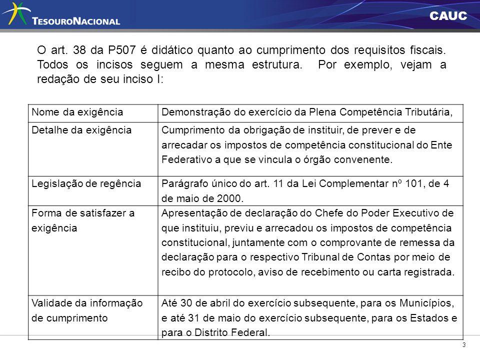 O art. 38 da P507 é didático quanto ao cumprimento dos requisitos fiscais. Todos os incisos seguem a mesma estrutura. Por exemplo, vejam a redação de seu inciso I: