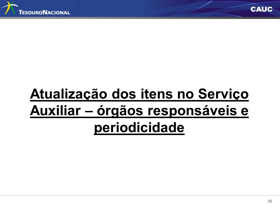 Atualização dos itens no Serviço Auxiliar – órgãos responsáveis e periodicidade