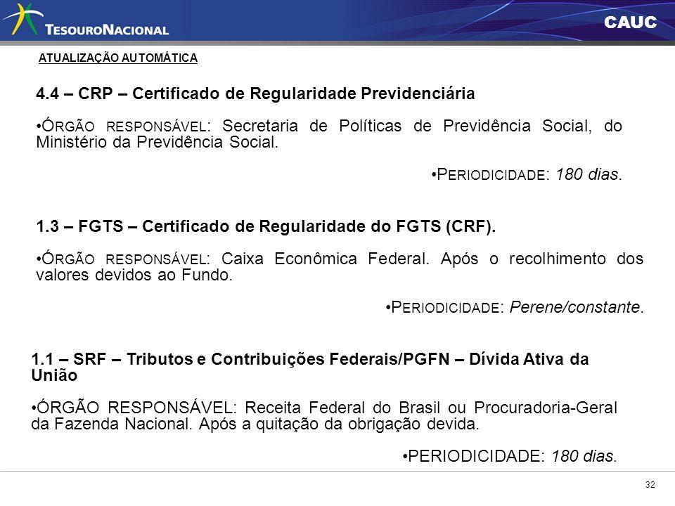 4.4 – CRP – Certificado de Regularidade Previdenciária