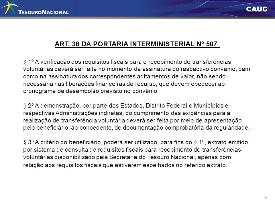 ART. 38 DA PORTARIA INTERMINISTERIAL Nº 507