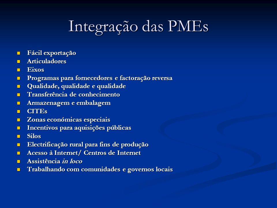 Integração das PMEs Fácil exportação Articuladores Eixos