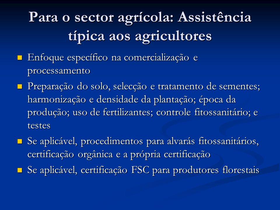 Para o sector agrícola: Assistência típica aos agricultores