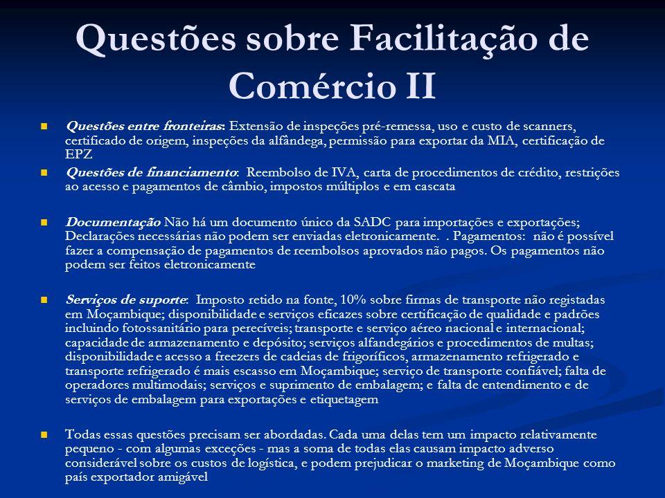 Questões sobre Facilitação de Comércio II