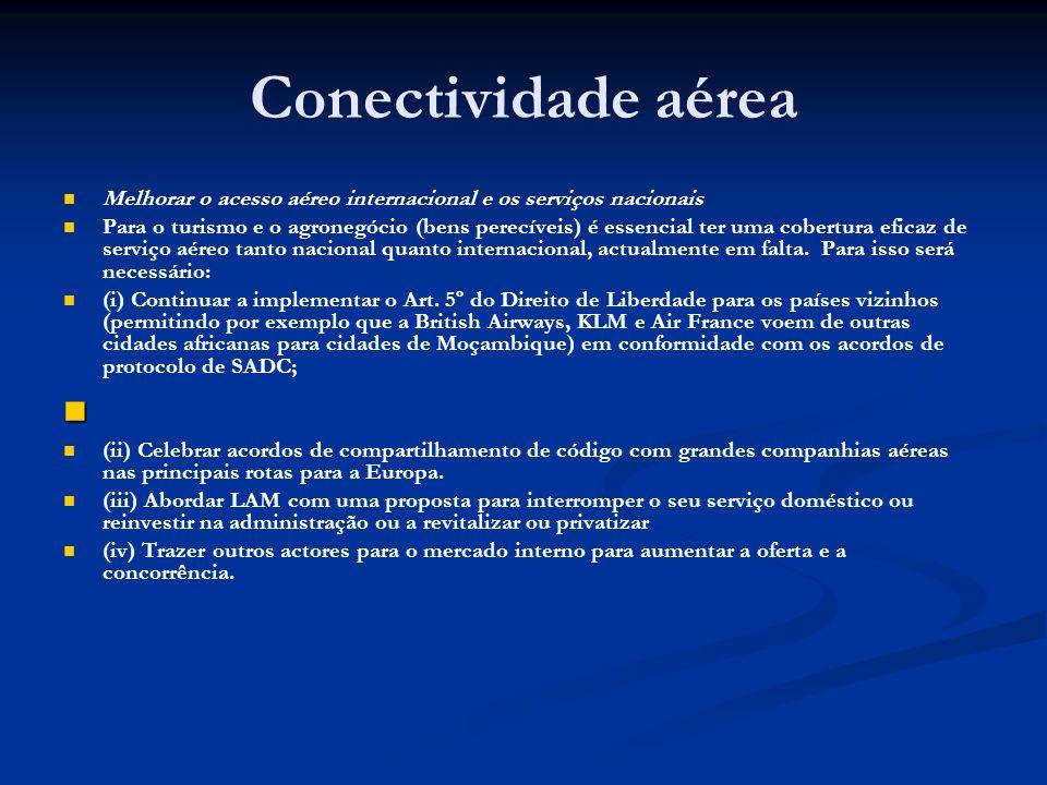 Conectividade aérea Melhorar o acesso aéreo internacional e os serviços nacionais.
