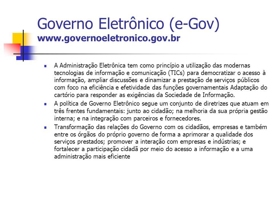 Governo Eletrônico (e-Gov) www.governoeletronico.gov.br