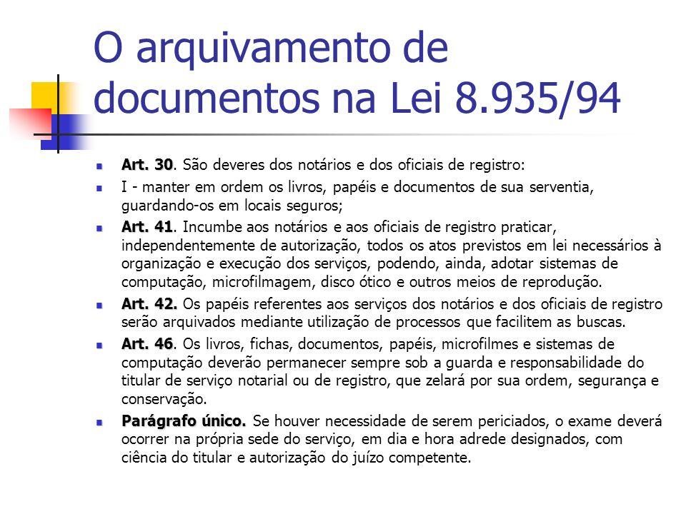 O arquivamento de documentos na Lei 8.935/94