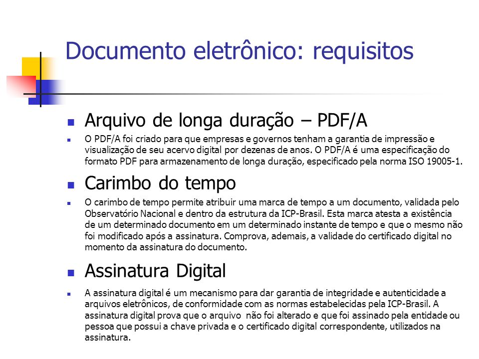 Documento eletrônico: requisitos