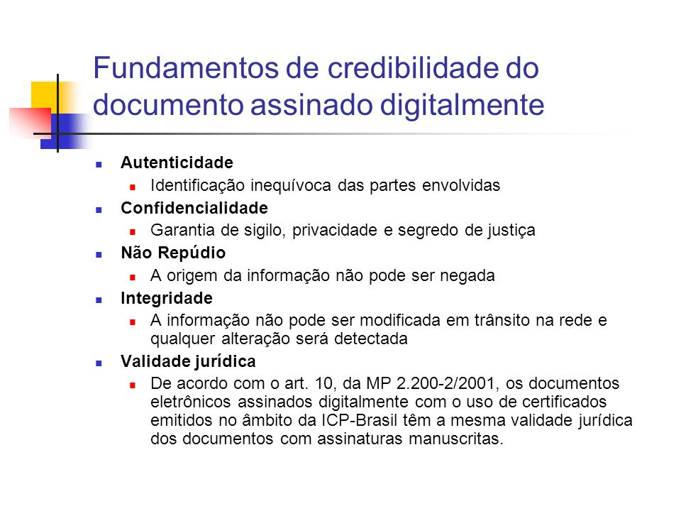 Fundamentos de credibilidade do documento assinado digitalmente