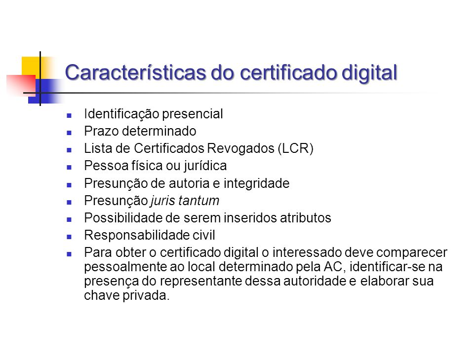 Características do certificado digital