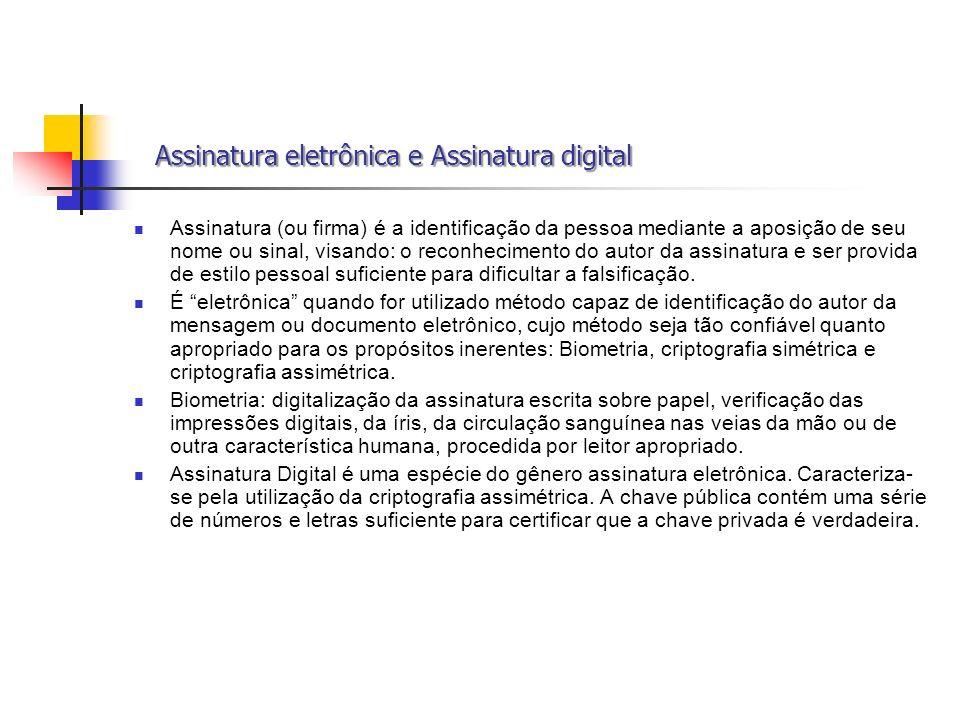 Assinatura eletrônica e Assinatura digital
