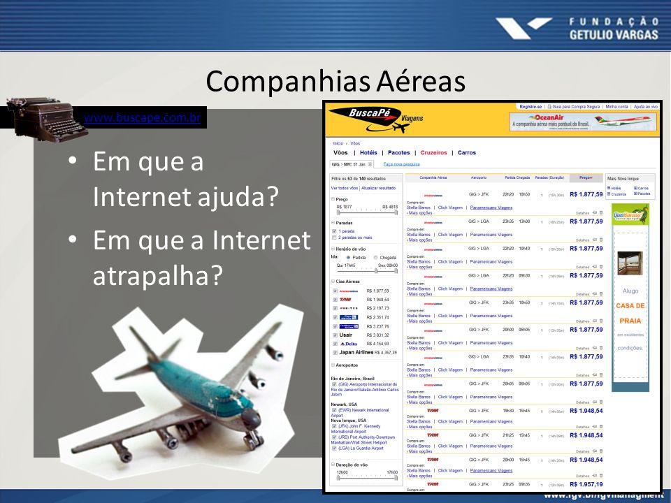 Companhias Aéreas Em que a Internet ajuda