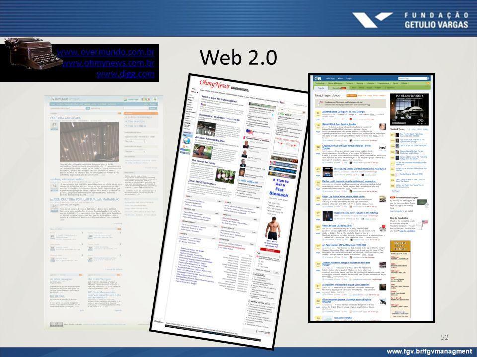 Web 2.0 www. overmundo.com.br www.ohmynews.com.br www.digg.com