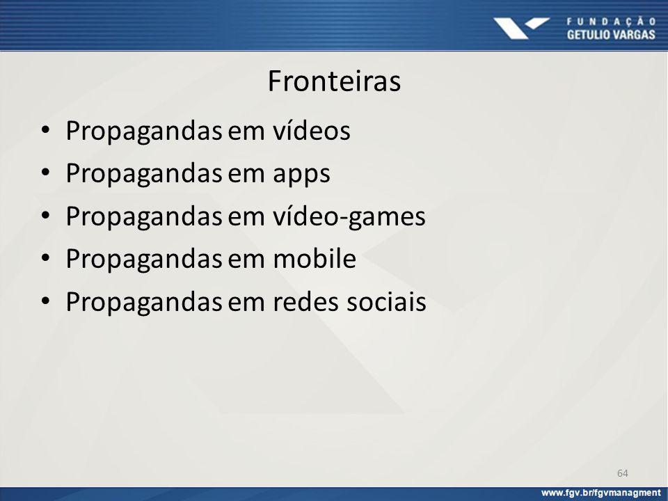 Fronteiras Propagandas em vídeos Propagandas em apps
