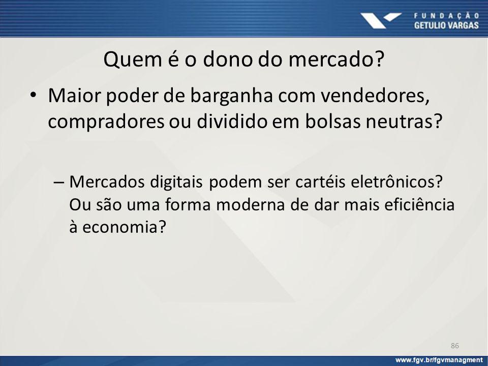 Quem é o dono do mercado Maior poder de barganha com vendedores, compradores ou dividido em bolsas neutras