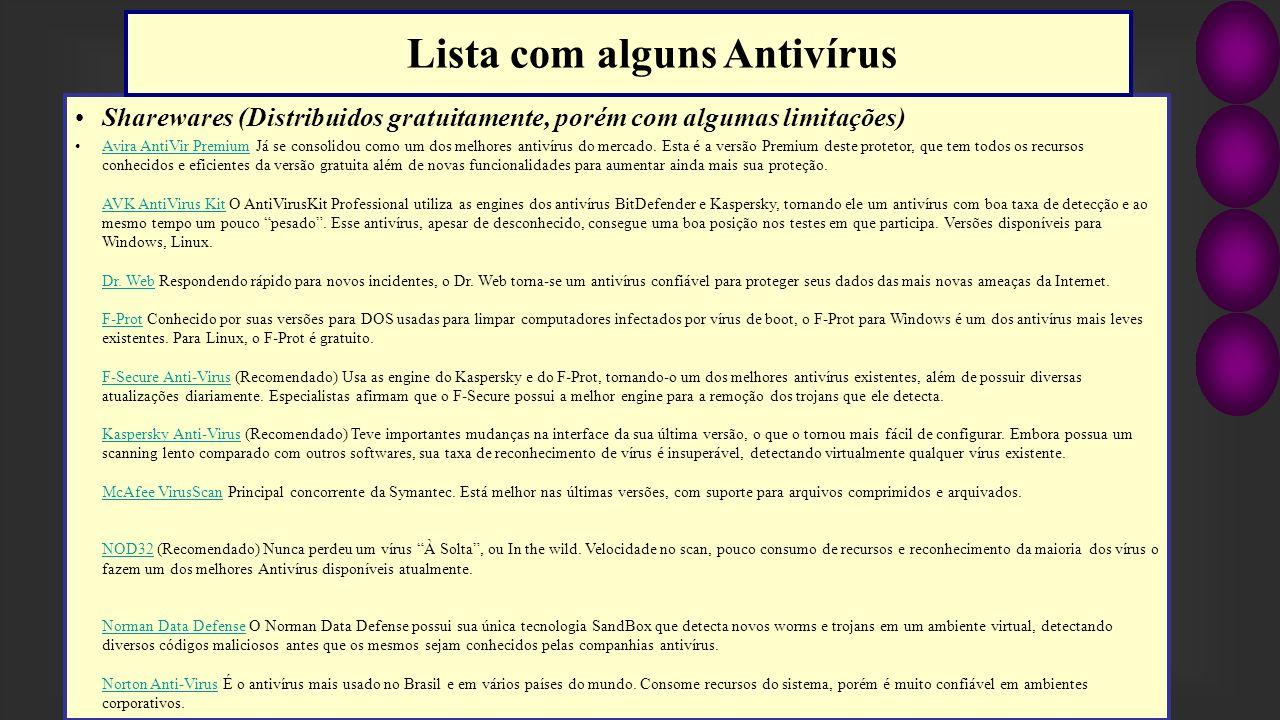 Lista com alguns Antivírus