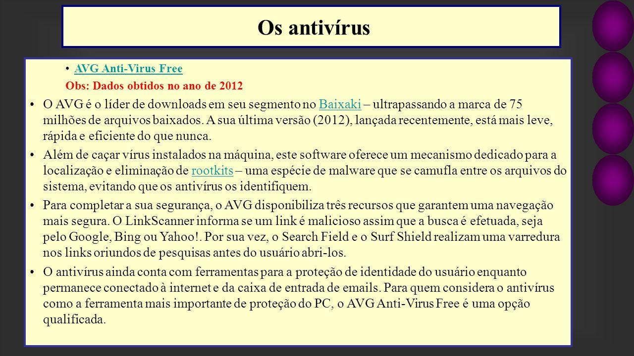 Os antivírus AVG Anti-Virus Free. Obs: Dados obtidos no ano de 2012.