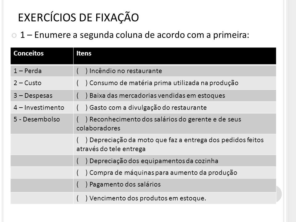 EXERCÍCIOS DE FIXAÇÃO 1 – Enumere a segunda coluna de acordo com a primeira: Conceitos. Itens. 1 – Perda.