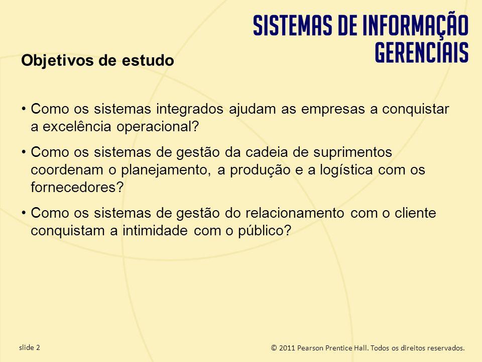 Objetivos de estudo Como os sistemas integrados ajudam as empresas a conquistar a excelência operacional