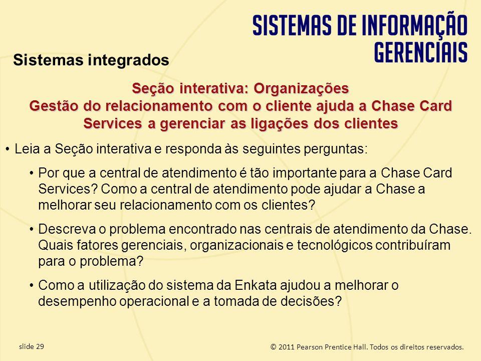 Sistemas integrados Seção interativa: Organizações