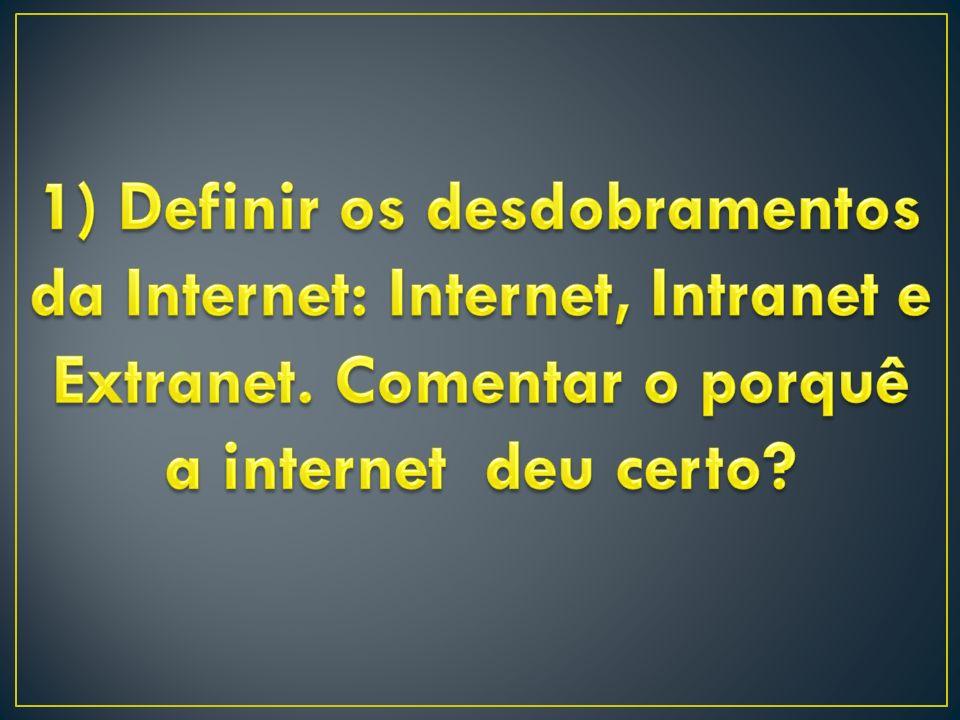 1) Definir os desdobramentos da Internet: Internet, Intranet e Extranet.