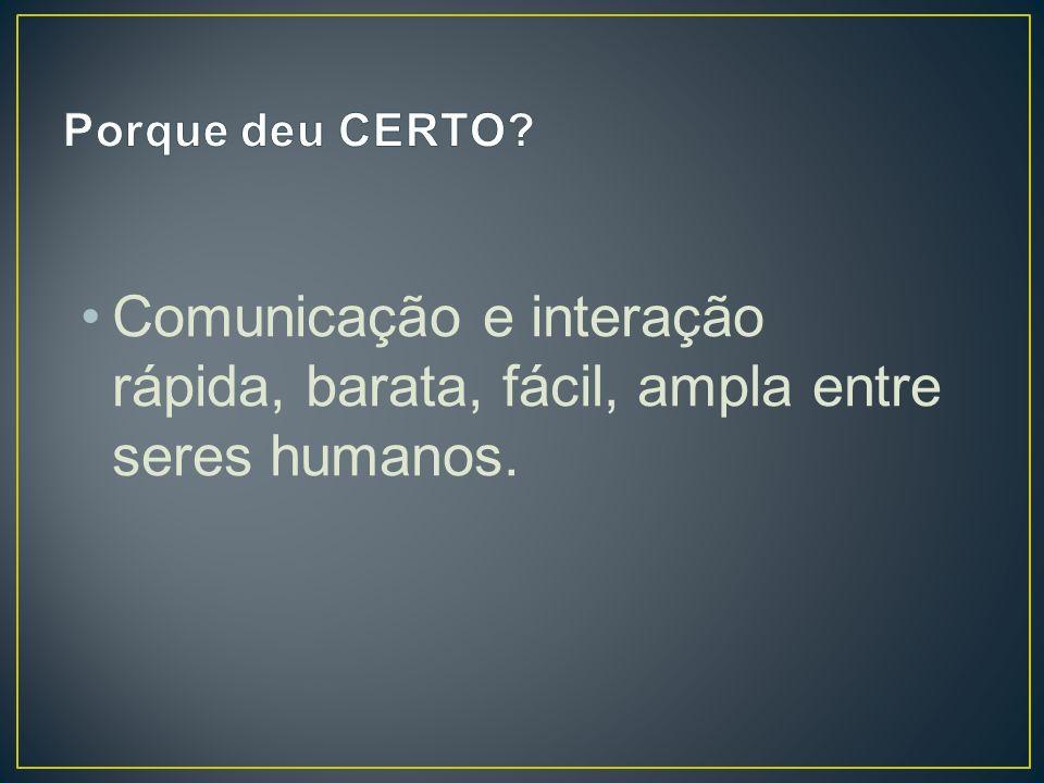Porque deu CERTO Comunicação e interação rápida, barata, fácil, ampla entre seres humanos.