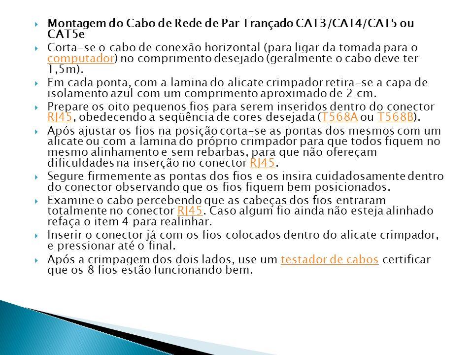 Montagem do Cabo de Rede de Par Trançado CAT3/CAT4/CAT5 ou CAT5e