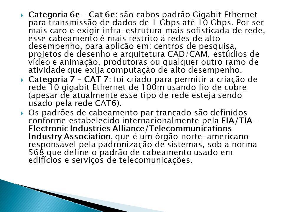 Categoria 6e – Cat 6e: são cabos padrão Gigabit Ethernet para transmissão de dados de 1 Gbps até 10 Gbps. Por ser mais caro e exigir infra-estrutura mais sofisticada de rede, esse cabeamento é mais restrito à redes de alto desempenho, para aplicão em: centros de pesquisa, projetos de desenho e arquitetura CAD/CAM, estúdios de vídeo e animação, produtoras ou qualquer outro ramo de atividade que exija computação de alto desempenho.